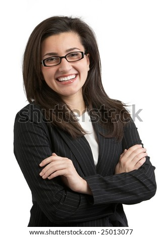 Attractive female businesswoman with friendly smile laughing - stock photo