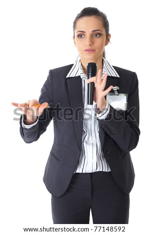 attractive female conference speaker during presentation, holds microphone and makes some gestures, isolated on white