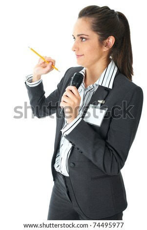 attractive female conference speaker during presentation, holds microphone and yellow pencil, isolated on white