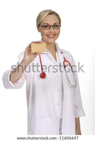 Attractive female doctor holds a blank card, isolated on white background - stock photo