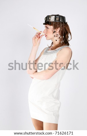 Attractive female dressed in 30's fashion clothes - stock photo