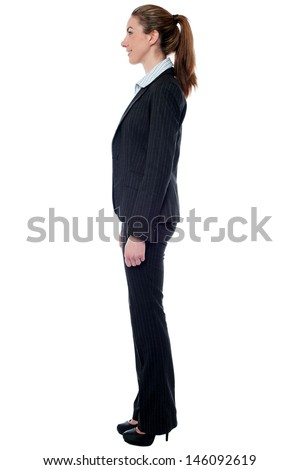 Attractive female employer, side pose