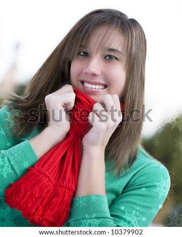 Attractive female in a Christmas portrait