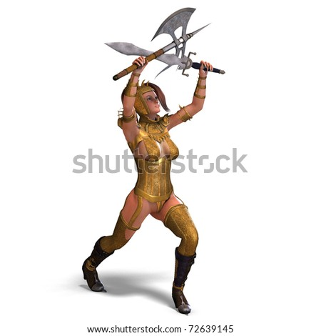 attractive female knight act as a guard. 3D rendering with clipping path and shadow over white