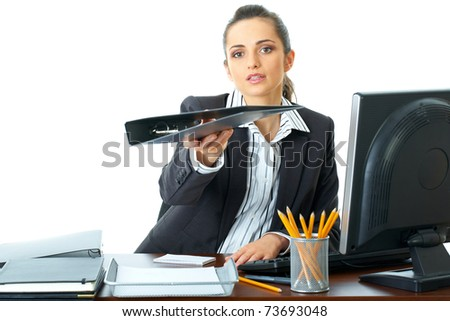 attractive female office worker hands folder to someone, isolated on white background - stock photo