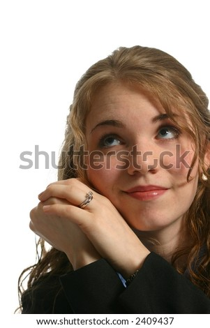 attractive female portrait looking up - stock photo