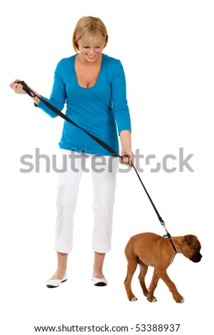Attractive Female With Dog - stock photo