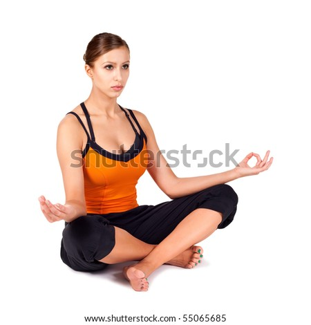 woman doing yoga exercise called cow stock photo 55572736