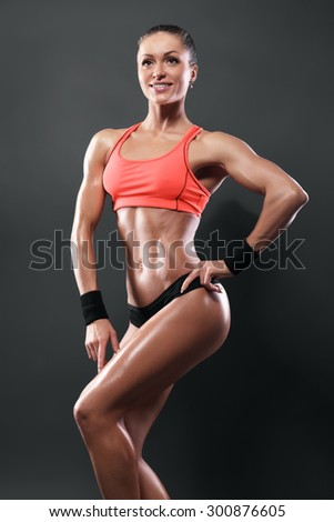 attractive fitness woman, trained female body, caucasian model isolated with clipping path - stock photo