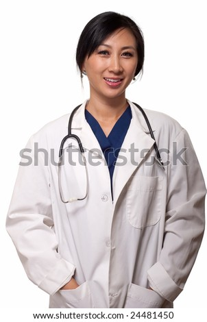 Attractive friendly smiling young lady asian doctor in white lab coat with a stethoscope standing on white