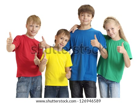 Attractive friends in bright T-shirts on a white background