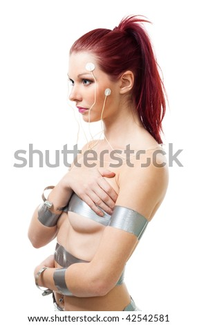 Attractive futuristic woman with brain sensors on her face, isolated