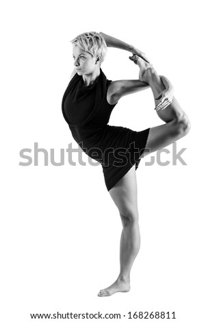 Attractive girl dancing, shot in black and white version - stock photo