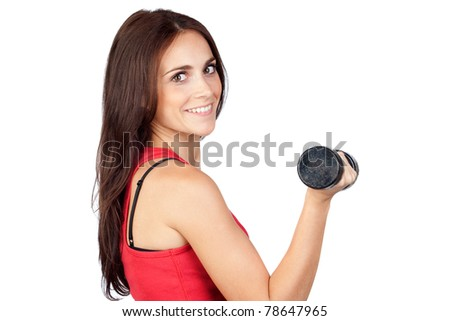 Attractive girl doing gymnastic with weights isolated on white background - stock photo