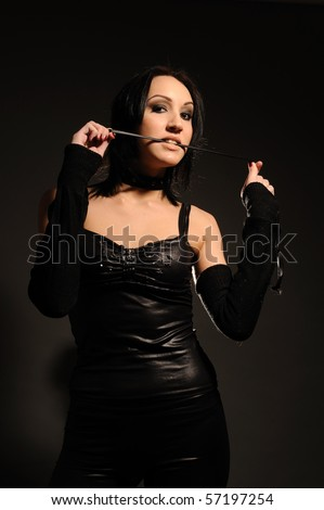 attractive girl in a collar with leash on her neck, sexual role games, BDSM.