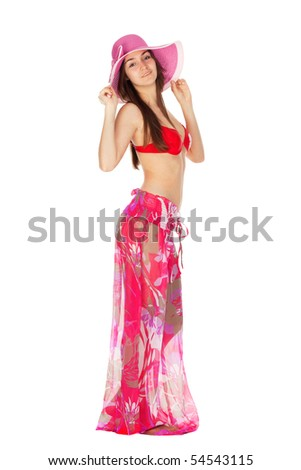 attractive girl in beach clothes isolated on white - stock photo