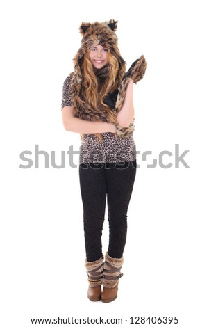 attractive girl in cat costume over white - stock photo