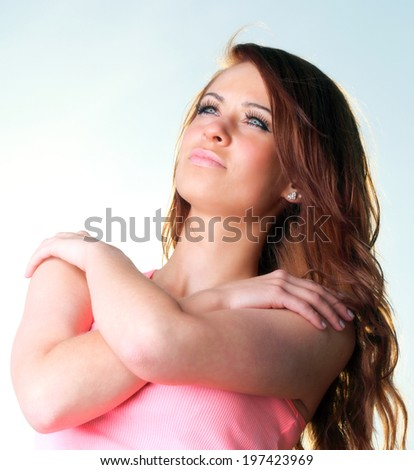 Attractive girl on pier Young woman on background of sky - stock photo