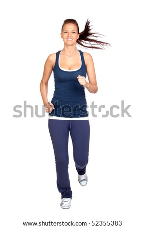 Attractive girl running isolated on white background - stock photo