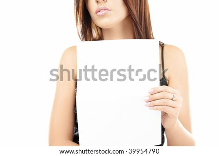 Attractive girl shows the blank sheet of format ?4, isolated