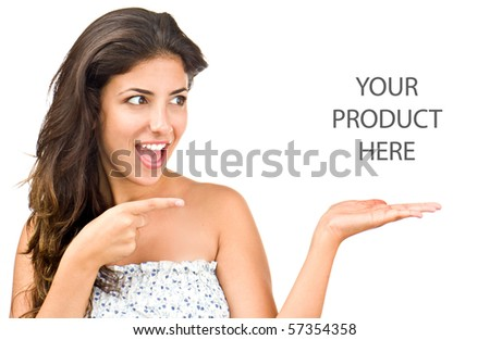 Attractive girl shows your text - stock photo