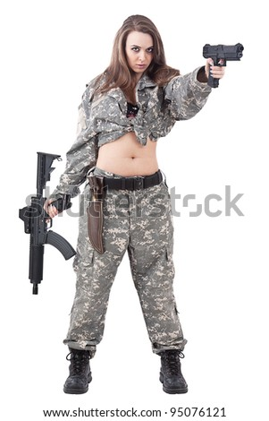Attractive girl soldier with guns, isolated on white background