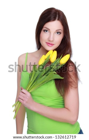 Attractive girl wearing clothes with floral ornament on Holiday theme - stock photo