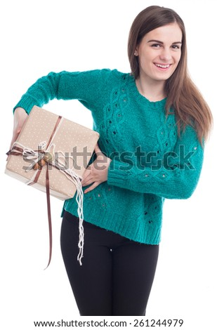 Attractive girl with a gift in their hands(isolated on white) - stock photo