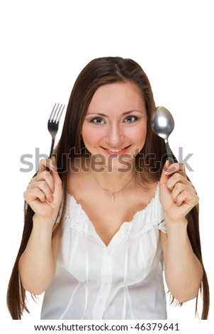 attractive girl with a spoon and fork isolated on white - stock photo