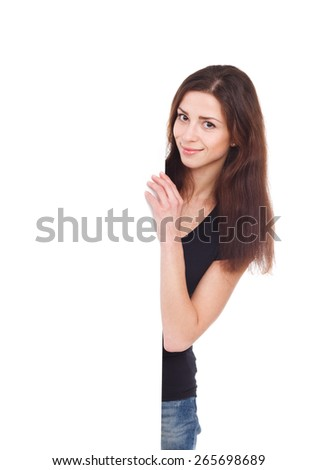 attractive girl with blank ad - stock photo