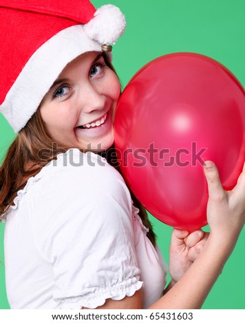 attractive girl with red vivid balloon