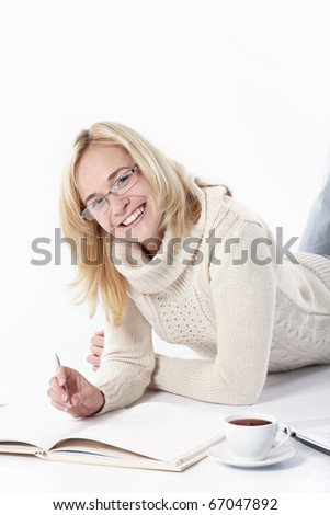 Attractive girl working on a white background