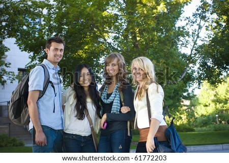 Attractive Group of College Students - stock photo
