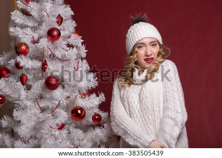 Attractive happy girl in Christmas - stock photo