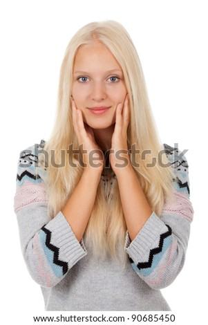 attractive happy smile young girl wear winter knitted warm sweater, isolated over white background - stock photo