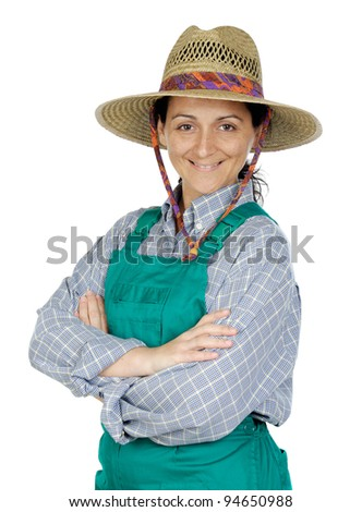 Attractive happy woman dressed of gardener a over white background