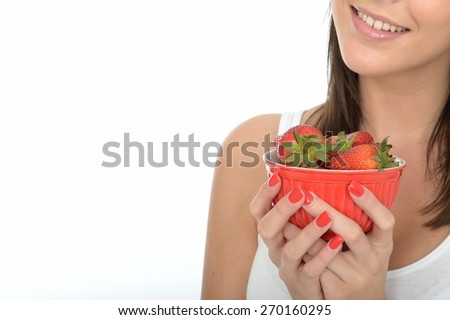 Attractive Healthy Happy Young Woman Holding a Bowl of Fresh Ripe Juicy Strawberries - stock photo
