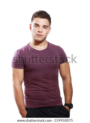 attractive healthy teen male model over white background - stock photo