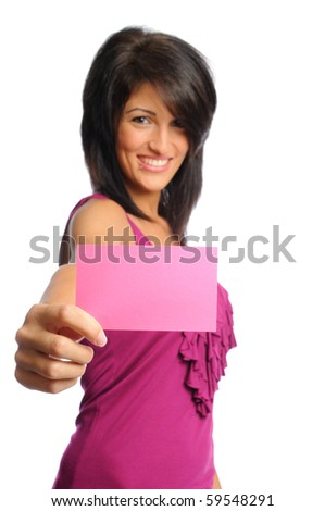 attractive hispanic woman holding bright index cards on a white background - stock photo