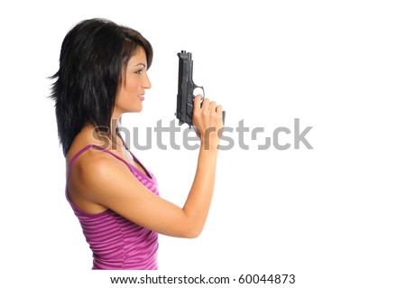 attractive hispanic woman profile holding a pistol on a white background - stock photo
