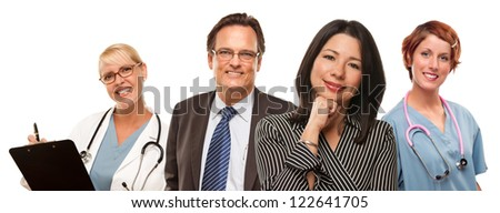 Attractive Hispanic Woman with Businessman and Male Doctors or Nurses Isolated on a White Background. - stock photo