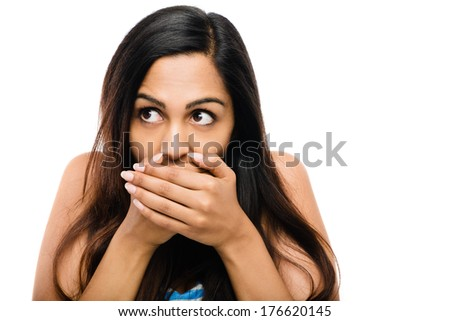 attractive Indian afraid of surprise - stock photo
