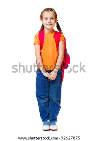 Attractive junior student in orange t-shirt - stock photo