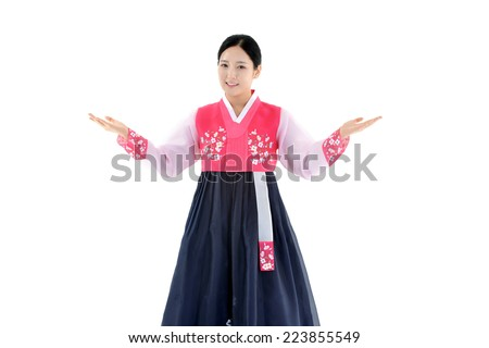 Attractive korea woman wearing traditional dress - stock photo
