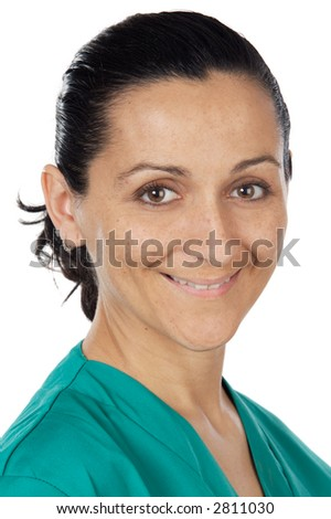 attractive lady doctor over a white background