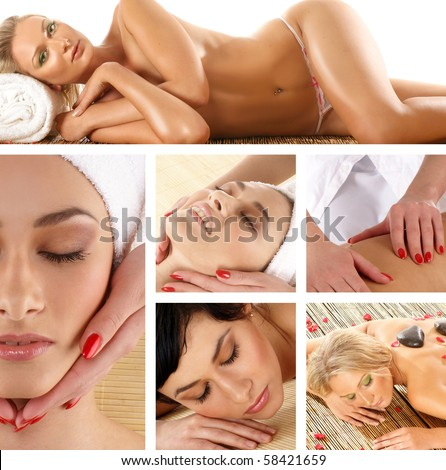 Attractive lady getting spa treatment - stock photo