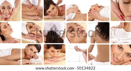 Attractive lady getting spa treatment collage - stock photo