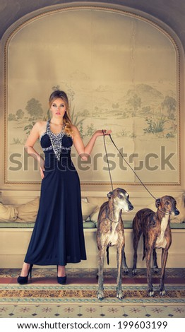 attractive lady in black dress with two greyhounds - stock photo