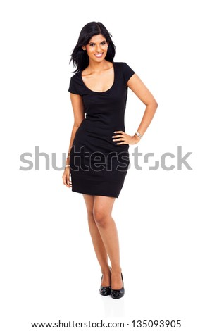 attractive latin american woman isolated on white background