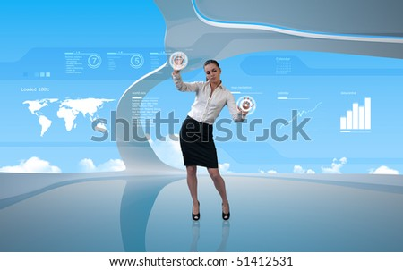 Attractive latina operating interface - stock photo